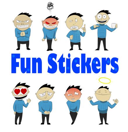 shame: Social networks user sticker set with cartoon character feeling different emotions.
