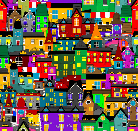 old town: Hand-drawn seamless pattern with old town. Illustration