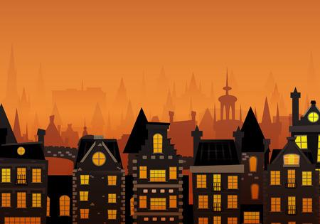 Vector illustration of the night sky in an european city. Vector Illustration