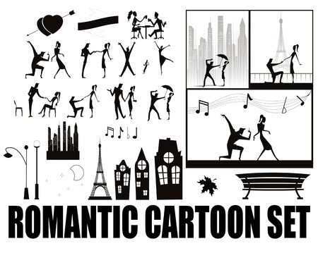 romanticist: Set in a romantic silhouettes cartoon style. in a set of silhouettes of couples have oersteds rage, walk, dine on a date, dance, declarations of love. Also included in the set of design elements such as buildings, lampposts, benches. Right posted examples