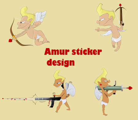 amur: Fun character amur sticker. Vector illustration Illustration
