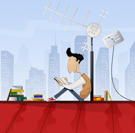 looking away: Boy reading book on the roof. Vector illustration