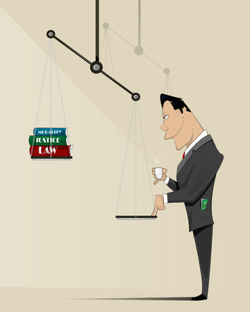 Conceptual image of corrupt influencing the law and justice. Layered vector illustration Illustration