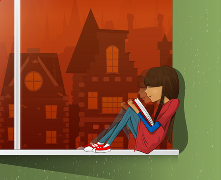 windowsill: Young beautiful girl sitting on a windowsill and read book. Layered vecto illustration. Able to edit Illustration