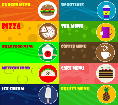 unhealthy food: Fast food icons on color background. Vector illustration.