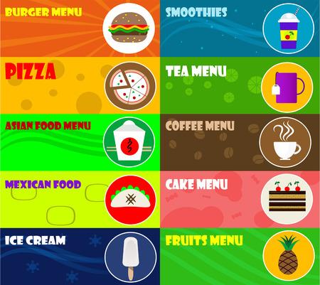 comida rapida: iconos de comida rápida en el fondo de color. Ilustración del vector.