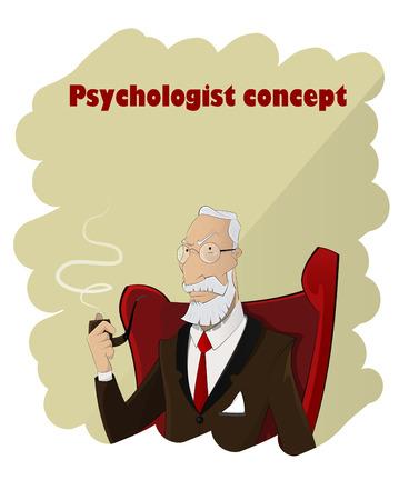Portrait of cartoon profesional elderly psychologist. Vector illustration Illustration