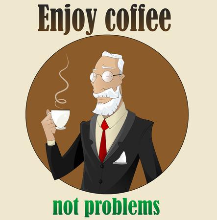 looking away: Elderly man in glasses drinking coffee while looking away. Vector
