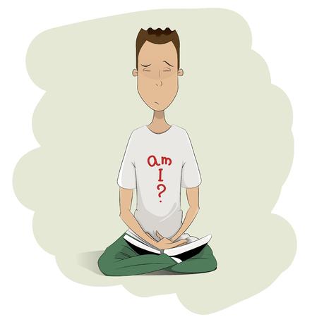 Young man meditating. Cartoon vector illustration. Layered, easy to edit