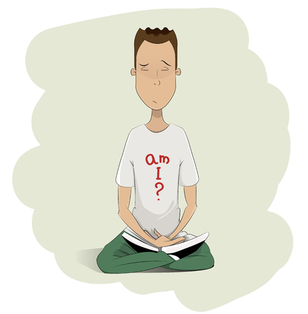 dao: Young man meditating. Cartoon vector illustration. Layered, easy to edit