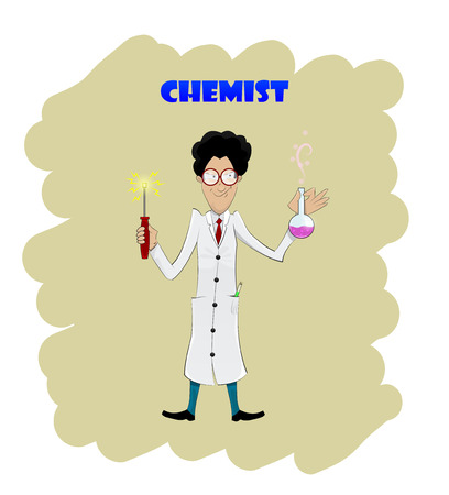 chemistry lab: Fun cartoon chemist with flask. Vector illustration Illustration