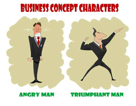 worry tension: Two cartoon businessmen, one of  them feels anger, second one feels triumph. Vector