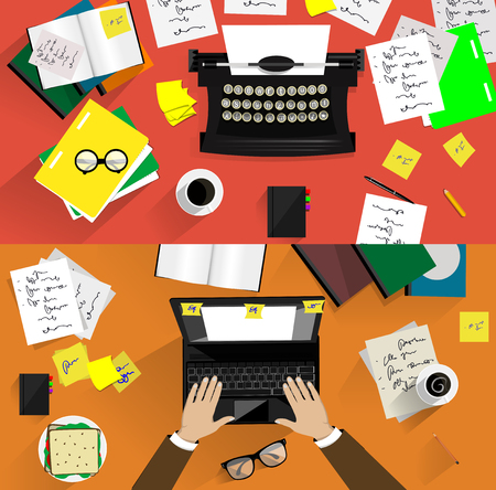 Vector illustraties van retro en moderne schrijfmachines. Begrippen van het schrijven, copywriting, scenarioschrijven etc Vector Illustratie