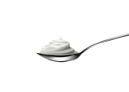 vanilla pudding: Sour cream in spoon on white background. Vector illustration