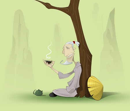 chinese old man sitting with cup of green tea. All elements of illustration such as old man, backside, tree, hat, cup, devided into layers for easy edit Çizim