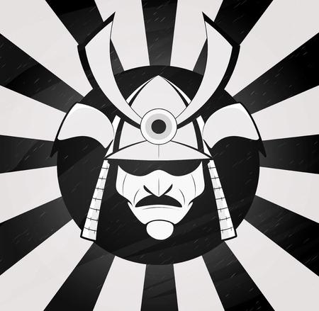 Vector samurai mask. Japanese traditional martial mask.