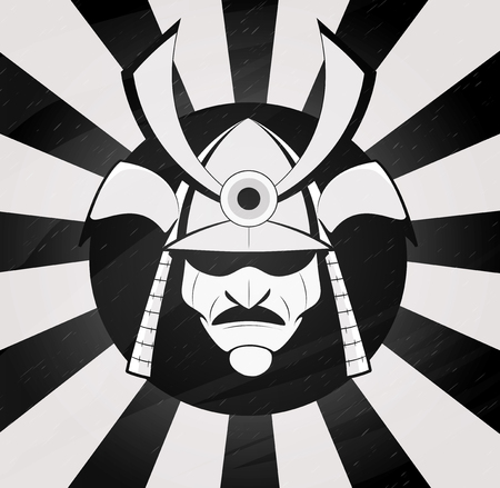 warriors: Vector samurai mask. Japanese traditional martial mask.