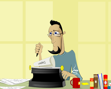 adults learning: Writer at work. Handsome young writer sitting at the table and writing something. Vector illustration