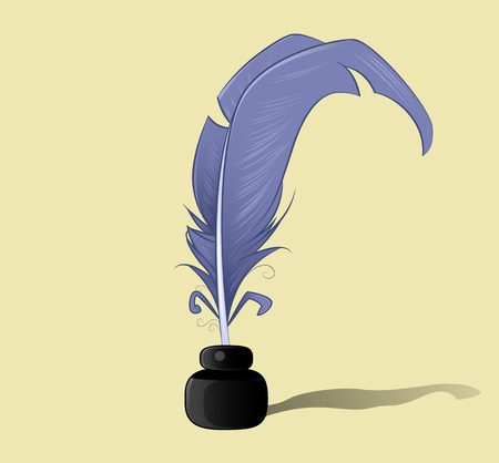ink bottle: Vector feather and ink bottle icon, vector illustration