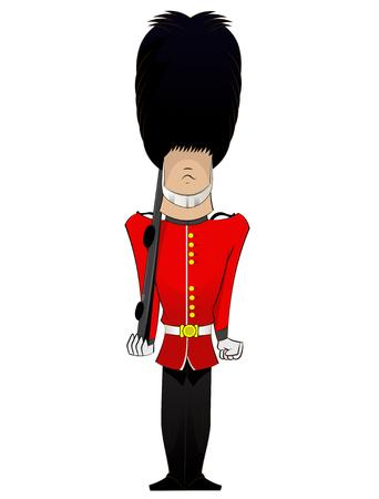 Queen Soldier cartoon . Vector fun character illustration