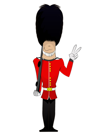 Queen Soldier cartoon . Vector fun character illustration