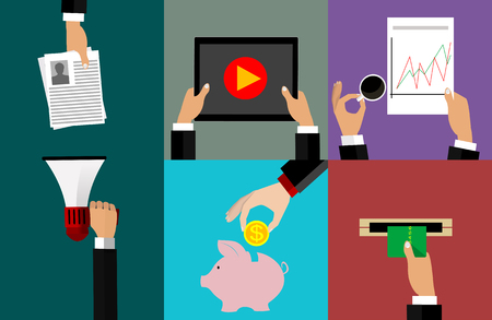 Icons dedicated to e-commerce, job search, recruitment, accumulation of money, the analysis of financial indicators