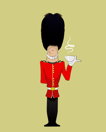 british culture: British Soldier  drinks tea . fun character illustration Illustration