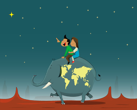 young girl: Boy and girl traveling on the back of an elephant. The elephant symbolizes the globe with the continents.