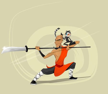 Shaolin moine guerrier avec le singe.