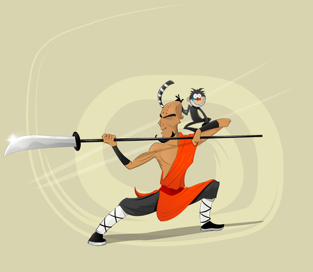 Shaolin warrior monk with monkey.