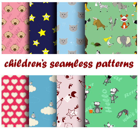 Collection for decoration products for the children. Set includes 8 colorful seamless patterns.  Illustration
