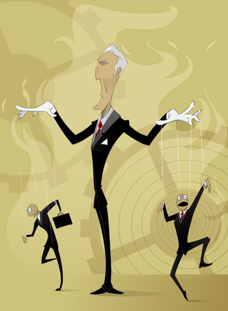 Old man manipulates by others. Conceptual image manipulation in business and life. Vector