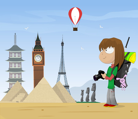 airport cartoon: Girl travels the world and take photo. Vector