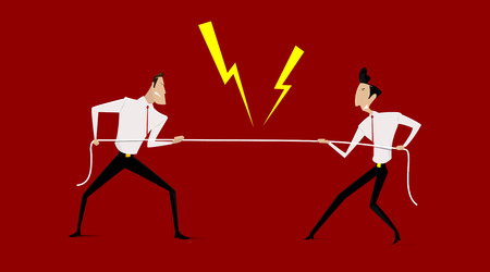 Business people in conflict and confrontation concept. Simple character design. Illustration