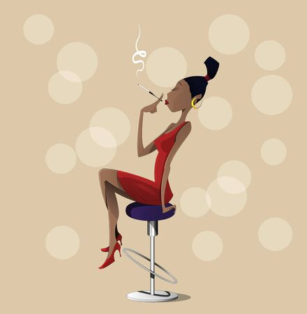 high chair: Cartoon lady sitting on a high chair. Vector illustration