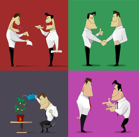 mediate: Cartoon business relations set about conflict and opposition, agreement, concurention and growing profit. Vector illustrations Illustration