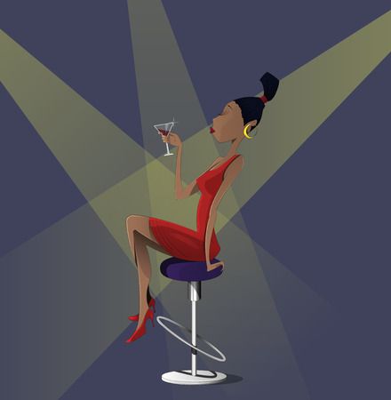 Cartoon young woman with  glass of martini sittin on hight chiar in night club. Vector illustration  イラスト・ベクター素材