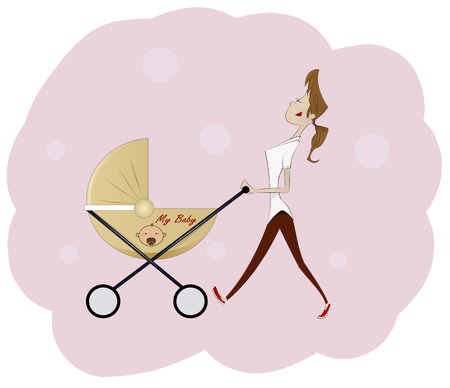 pushing: Cartoon beautiful young woman pushing baby carriage on pink background. Vector cartoon illustration