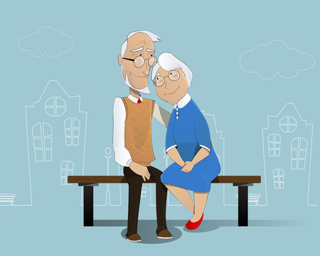 schematically: Happy cartoon elderly couple sitting on  bench. In the background is shown schematically city. Pensioners, senior  social insurance, grandfather grandmother. Vector Illustration