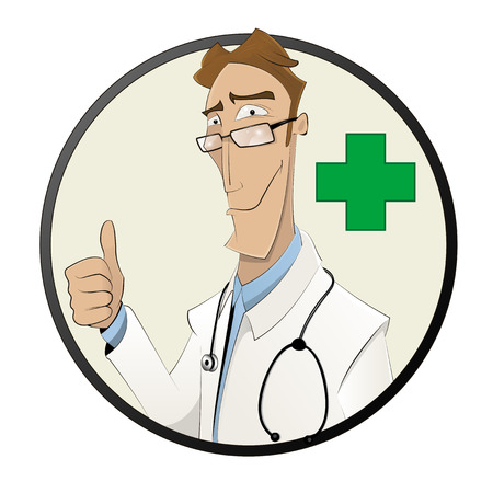 Smiling cartoon male doctor in white coat show finger up. Healthcare, profession, people, farmacy and medicine concept. Vector  Illustration