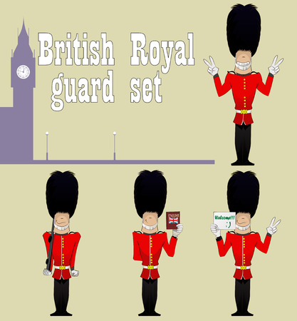 beefeater: British royal guards in the silhouette of Big Ben. Set of four guards. British Guardsmen with English dictionary,  gun, and  sign of peace.BEEFEATER, soldiers. Layered vector illustration Illustration