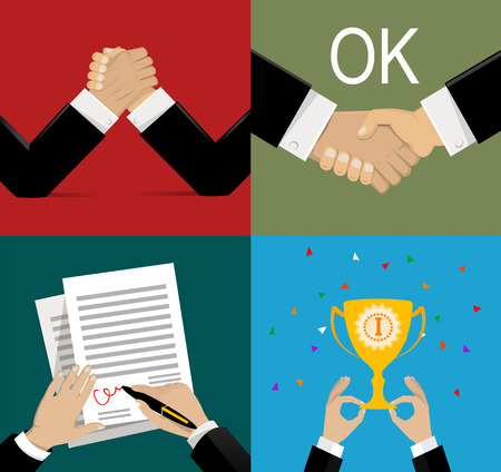 rewarding: business leadership vector illustration in flat design: success celebration victory, handshake, opposition, signing of the agreement. Concept of leadership, partnership, teamwork, confrontation in the business, law