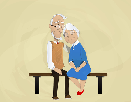 holidays for couples: elderly couple embracing sitting on  bench. Retired elderly couple in love. Vector