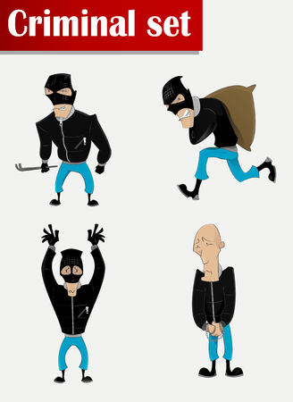 swindler: Cartoon criminal in mask set. . Crime, theft, robbery, assault, crime, observance of the law Illustration