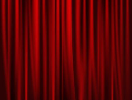portiere: theatrical background. Red drape curtains. Cinema, theater, opera house. Vector