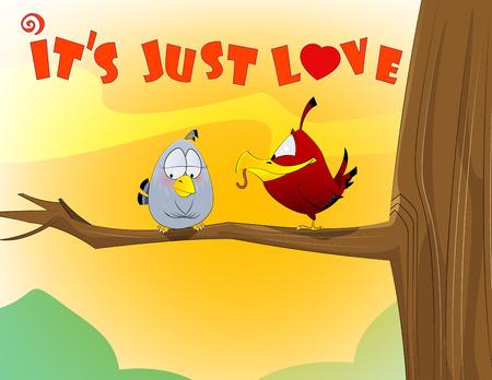cute couple: sweet love birds. Vector cartoon illustration, Valentines day concept. Illustration