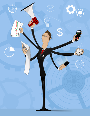 weariness: Concept of multitasking businessman who works with more arms. Time management concept. Vector