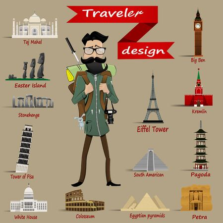 miracles: Guy with  travel backpack and icons  of different world miracles. Easy to edit Vector