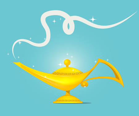 fulfillment: Fairy tale golden magic lamp  design. vector illustration Illustration