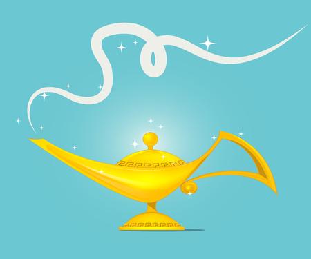 lamp: Fairy tale golden magic lamp  design. vector illustration Illustration